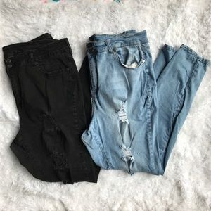 Lovesick Lot Of 2 Destructed Skinny Jeans Size 20